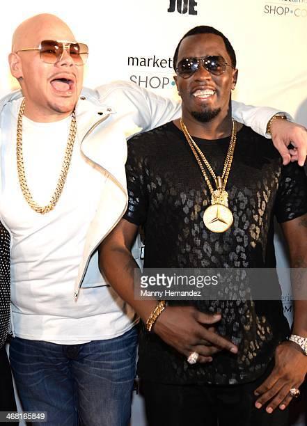 Fat Joe and P Diddy attends Team Fat Joe Celebrates Market America on February 8 2014 in Miami Beach Florida
