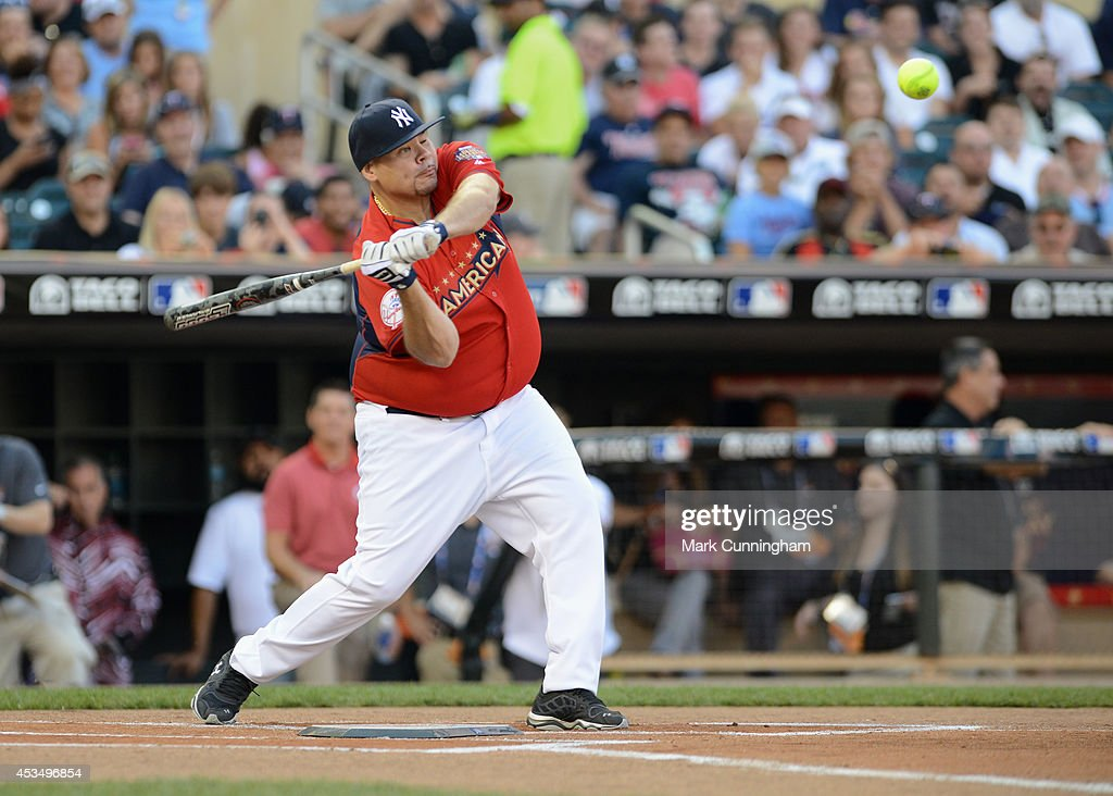 Fat Joe bats during the 2014 Taco Bell MLB All-Star Legends & Celebrity Softball Game at Target Field on July 13, 2014 in Minneapolis, Minnesota.