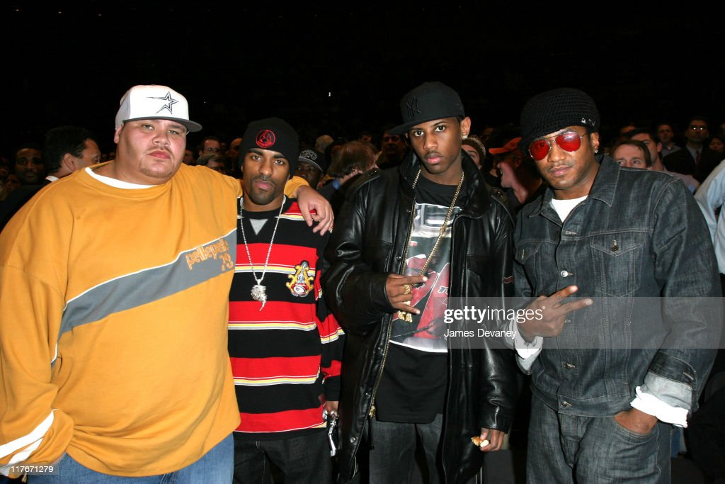 Fat Joe DJ Clue Fabolous and QTip during Celebrities Attend Houston Rockets vs New York Knicks Game at Madison Square Garden in New York City New...