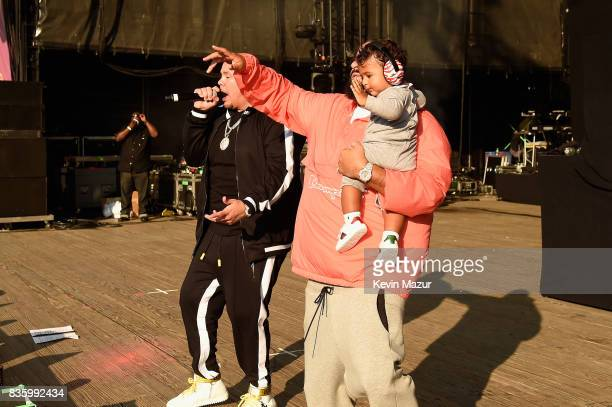 Fat Joe DJ Khaled and Asahd Tuck Khaled perform on stage during Day Two of 2017 Billboard Hot 100 Festival at Northwell Health at Jones Beach Theater...