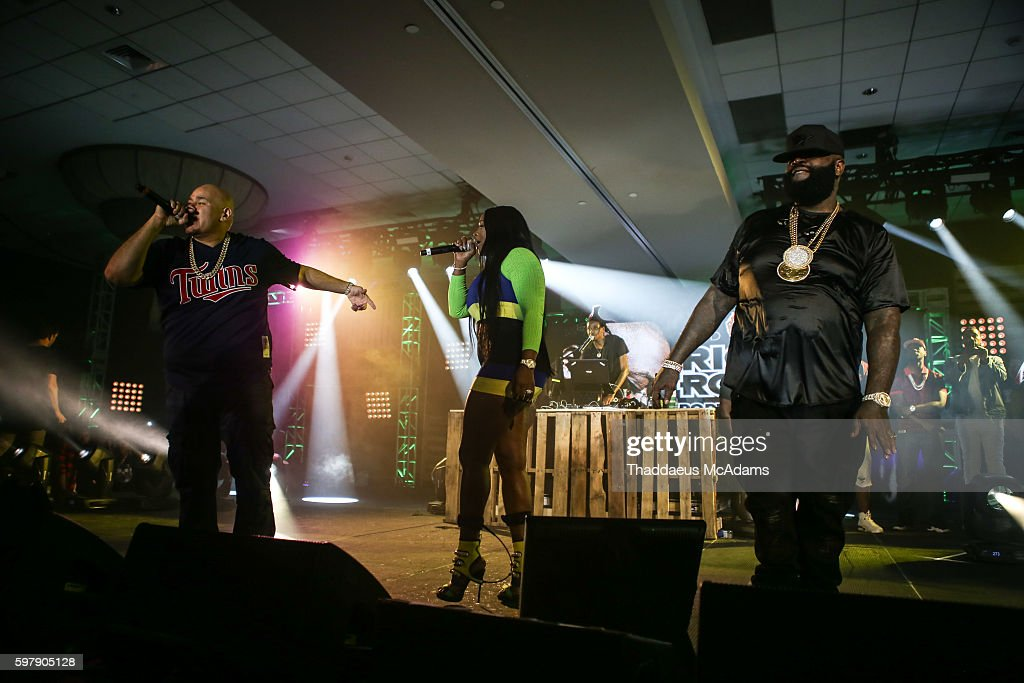 Fat Joe Remy Ma and Rick Ross perform at Port of Miami concert at Jungle Island on August 29 2016 in Miami Florida