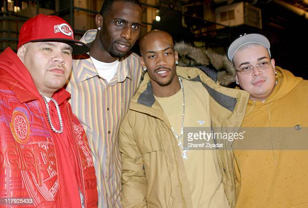 Fat Joe Tim Thomas Stephon Marbury and Macho during New York Knicks 2004 Christmas Carnival Featuring Fat Joe and Ja Rule at Intrepid in New York...
