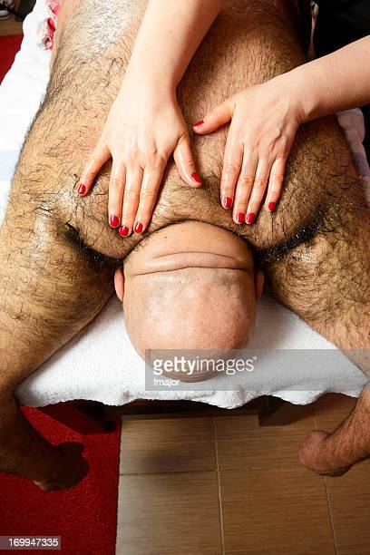 Fat man with hairy body at the massage salon