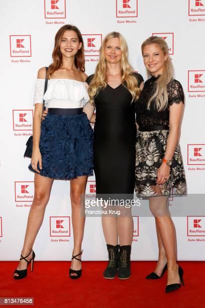 Fata Hasanovic Britta Steffen and Valentina Pahde attend the Kaufland Hosts VIP BBQ at OberhafenKantine on July 12 2017 in Berlin Germany
