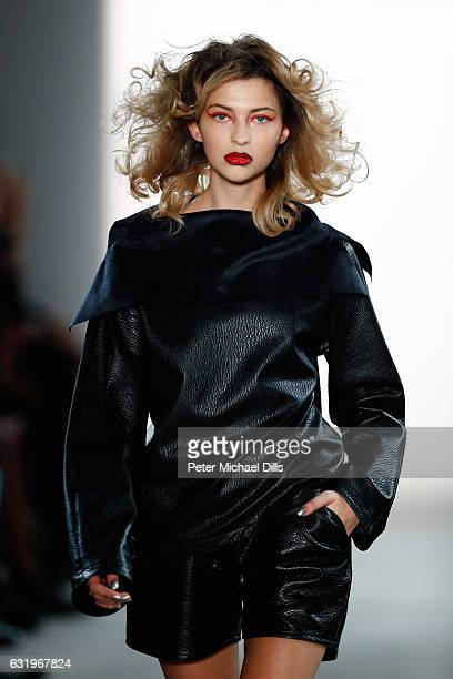 Fata Hasanovic walks the runway at the Rebekka Ruetz show during the MercedesBenz Fashion Week Berlin A/W 2017 at Kaufhaus Jandorf on January 18 2017...