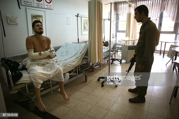 Fatah fighters who were wounded during clashes with Hamas gunmen in the Gaza Strip are treated in Barzilai hospital August 3 2008 in Ashkelon in...