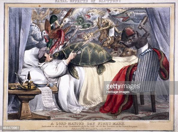 'Fatal effects of gluttony a Lord Mayor's Day night mare' 1830 depicting an alderman asleep in bed On top of him is a crowd of animals including a...