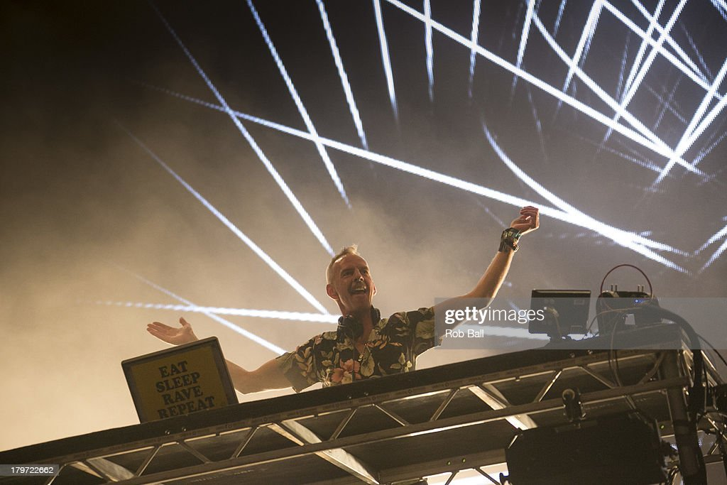 Fatboy Slim, aka <a gi-track='captionPersonalityLinkClicked' href=/galleries/search?phrase=Norman+Cook&family=editorial&specificpeople=2016568 ng-click='$event.stopPropagation()'>Norman Cook</a>, performs at Day 2 of Bestival at Robin Hill Country Park on September 6, 2013 in Newport, Isle of Wight.