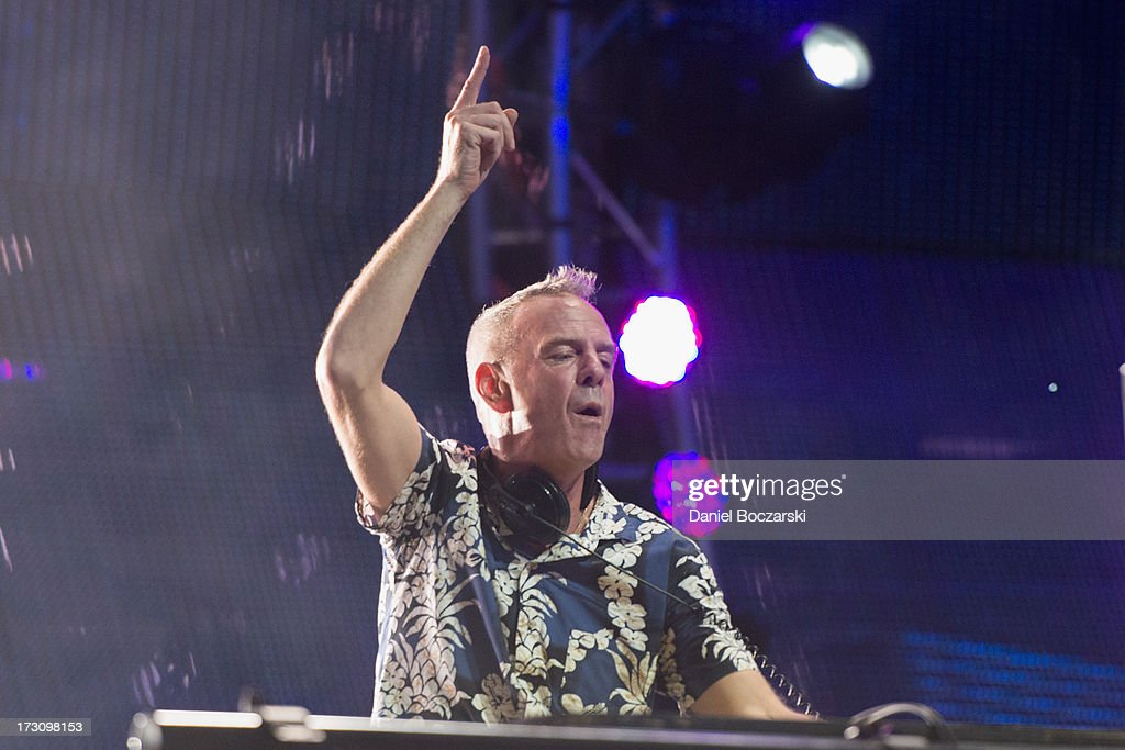 Fatboy Slim performs during the 2013 Wavefront Music Festival at Montrose Beach on July 6, 2013 in Chicago, Illinois.