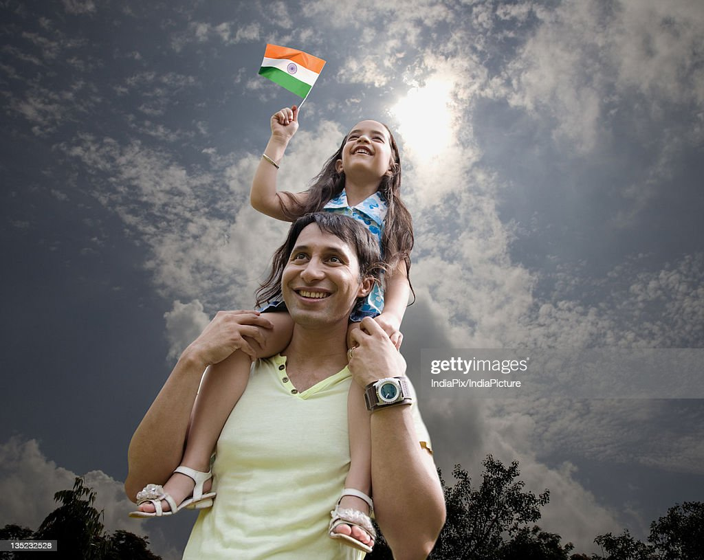 Father and child with the Indian Flag