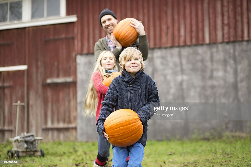 Father and children carrying pumpkins : Stock Photo