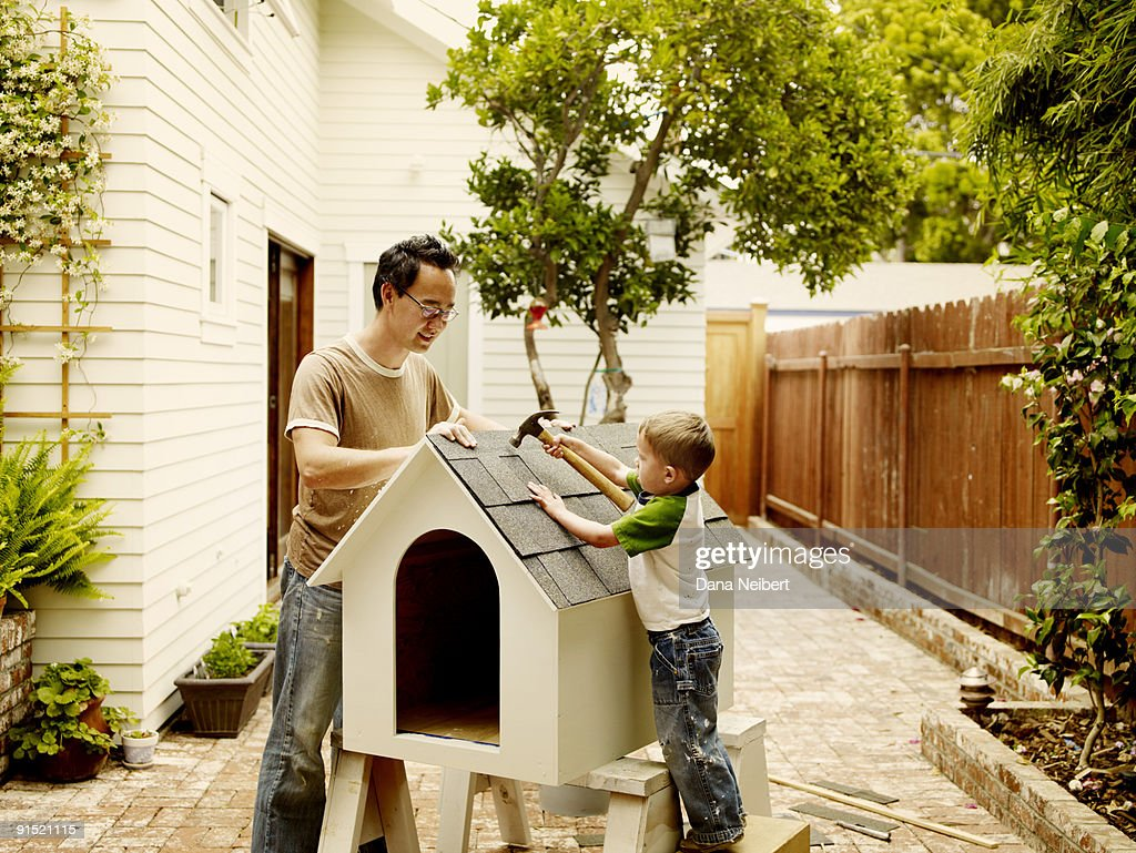father and children work on dog house stock photo getty images