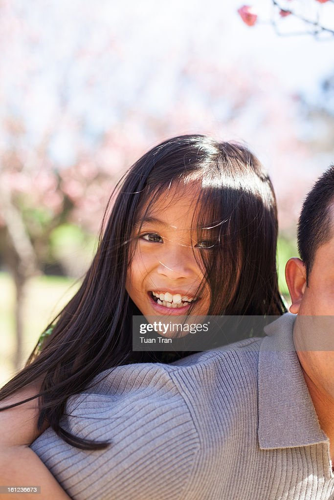 father and daugher playing at the park : Stock Photo