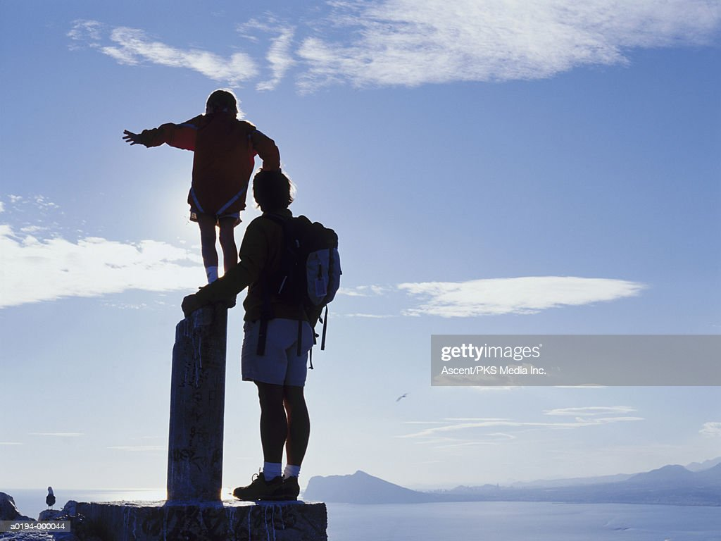 Father and Daughter at Summit : Stock Photo