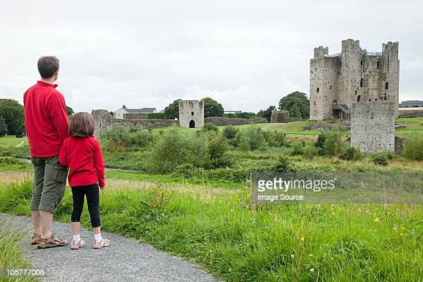 Father and daughter at Trim Castle, County Meath, Ireland