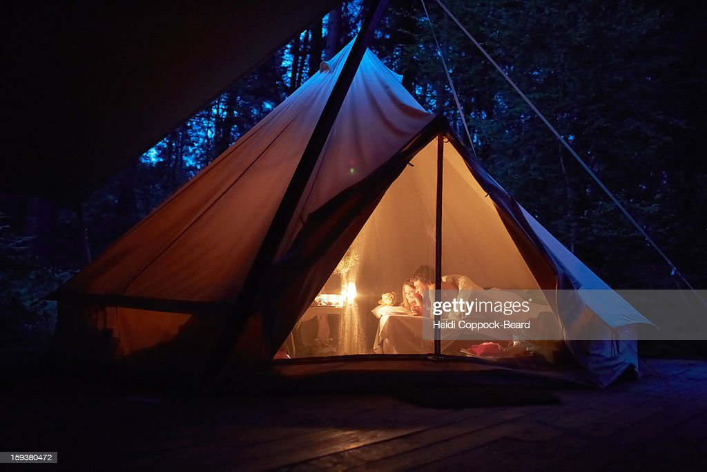 Father and Daughter camping : Stock Photo