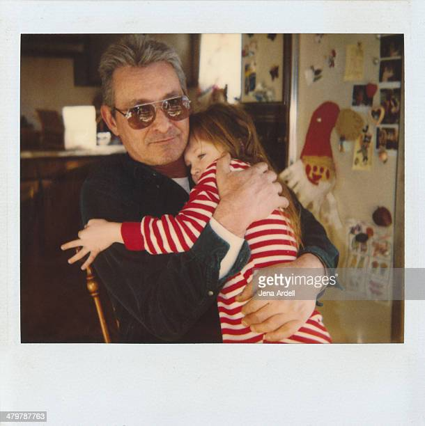 Father and Daughter Christmas Hug Instant Photo