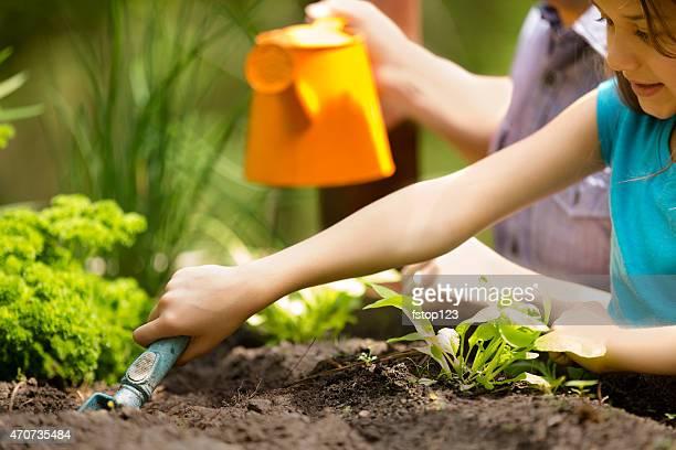 Pai e filha desfrutar de jardinagem nos arredores. Filho orgânico produtos hortícolas.