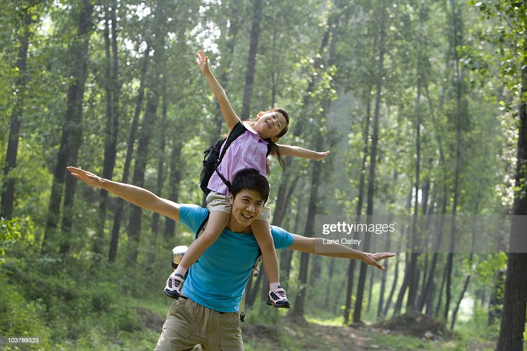 Father and daughter in the great outdoors : Stock Photo