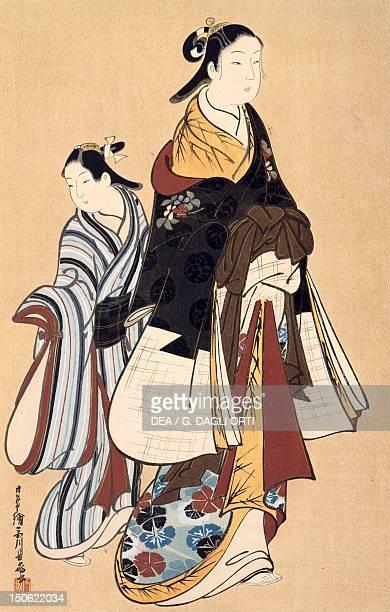 Father and daughter kakemono by Choki artist from the Miyagawa school Japan Japanese Civilisation 18th century