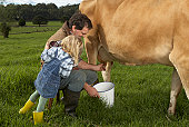 Father and daughter (3-4) milking cow in meadow