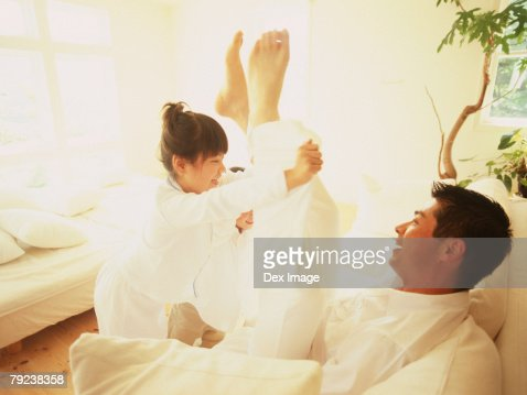 Father and daughter playing : Stock Photo