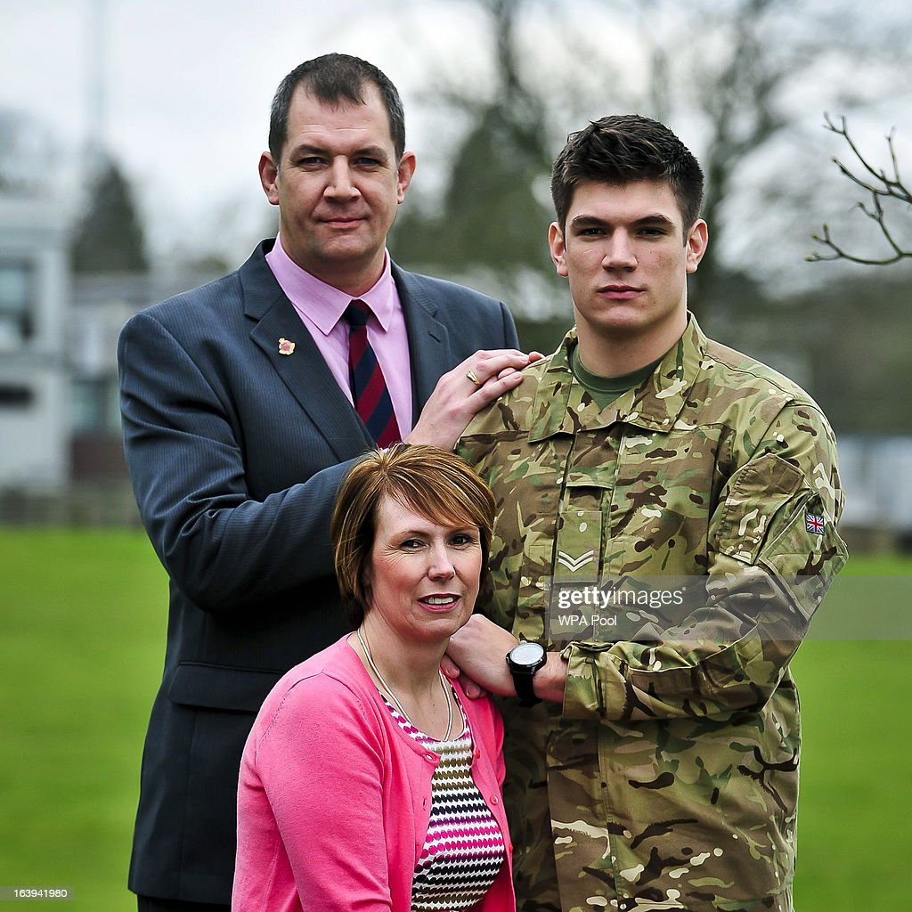 Father and former Grenadier Guardsman Duane Ashworth, mother Kerry Ashworth and brother of James and serving soldier Coran Ashworth are are seen as James Ashworthis awarded the Victoria Cros at a press conference at Buller Barracks on March 18, 2013 in Aldershot, England. Lance Corporal James Ashworth has been awarded the Victoria Cross in recognition of his 'extraordinary courage' while serving with the 1st Battalion The Grenadier Guards in Helmand province where he died last June.