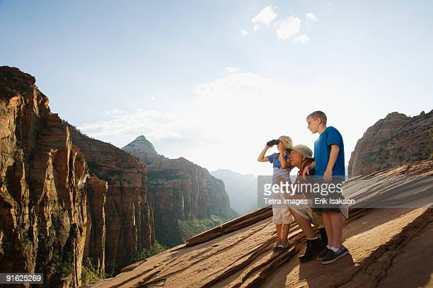 A father and his kids at Red Rock