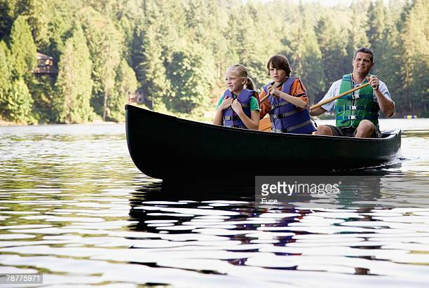 Father and Kids Canoeing
