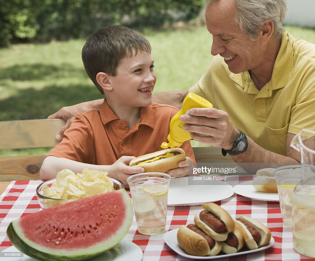 Father and son at a picnic : Stock Photo