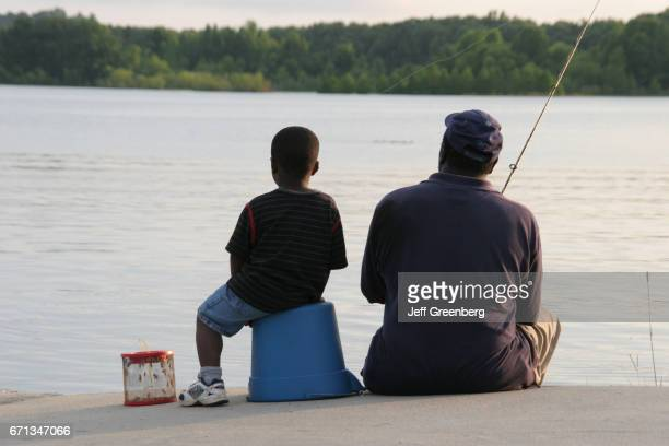 A father and son fishing in Chattahoochee River
