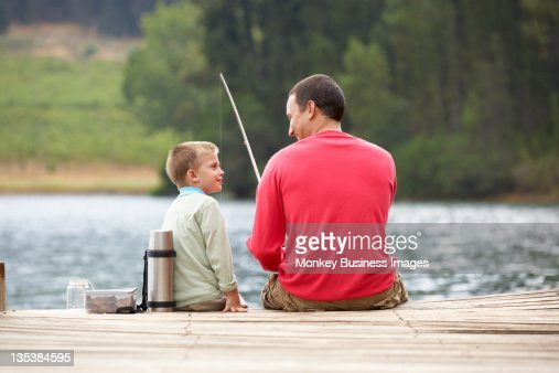 Father and son fishing : Stock Photo