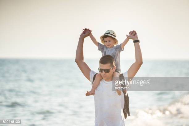 Father and son fun time on the summer vacation