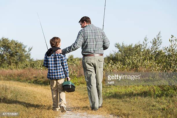 Father and son going fishing