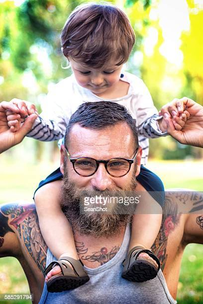 Father and Son having fun