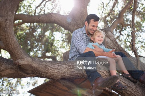 Father and son hugging in tree : Stock Photo