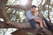 Father and son hugging in tree