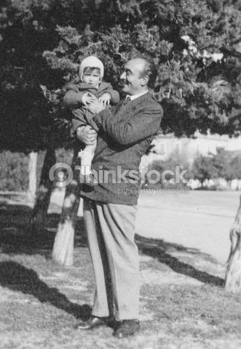 Father and son in 1949 : Stock Photo