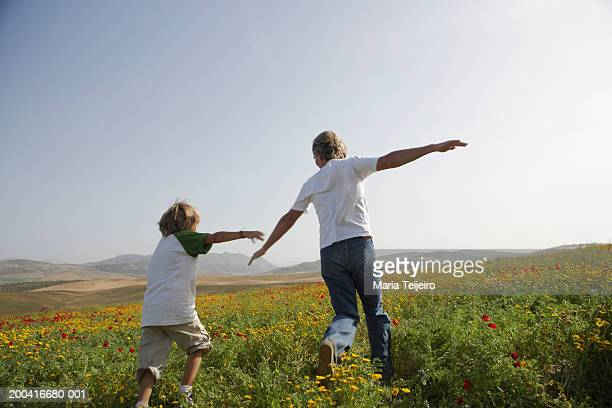Father and son (8-10) in field, playing aeroplanes, rear view