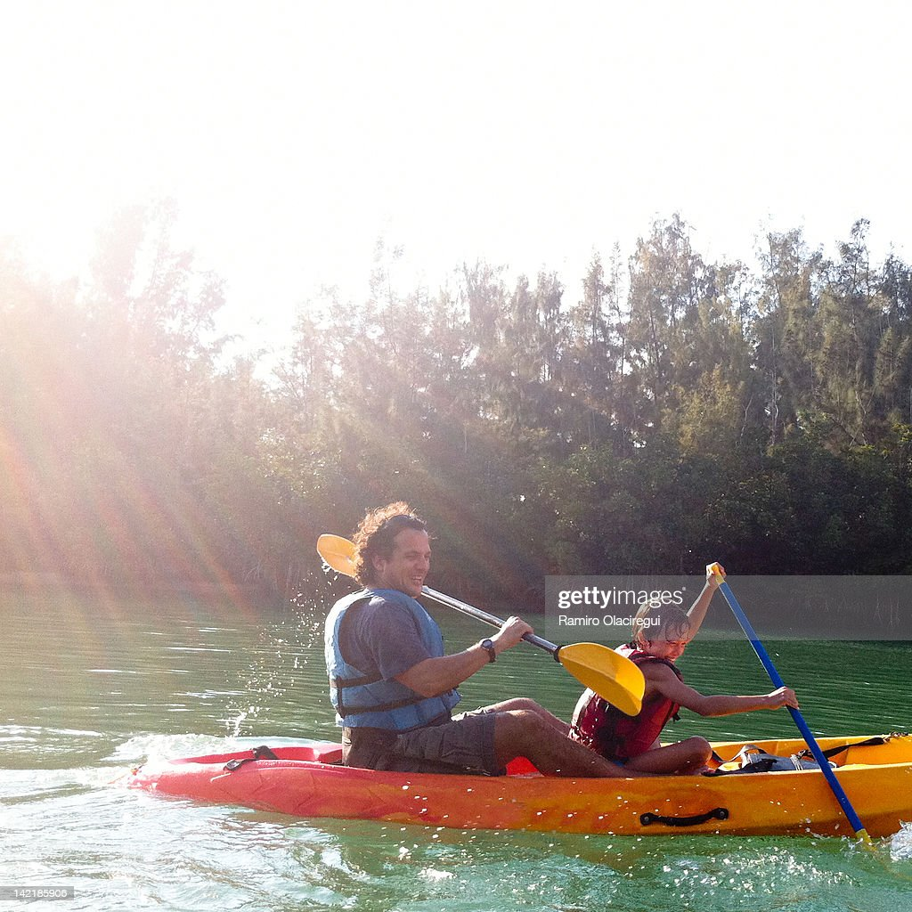 Father and son in kayaking : Stock Photo