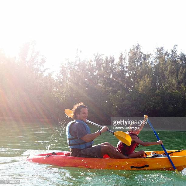Father and son in kayaking