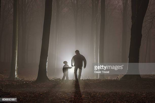 Father and son in misty forest