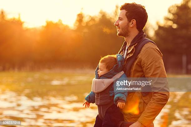 Father and son in nature