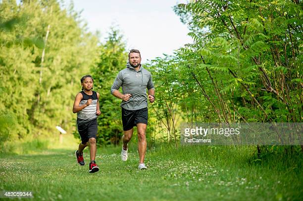 Father and Son Jogging