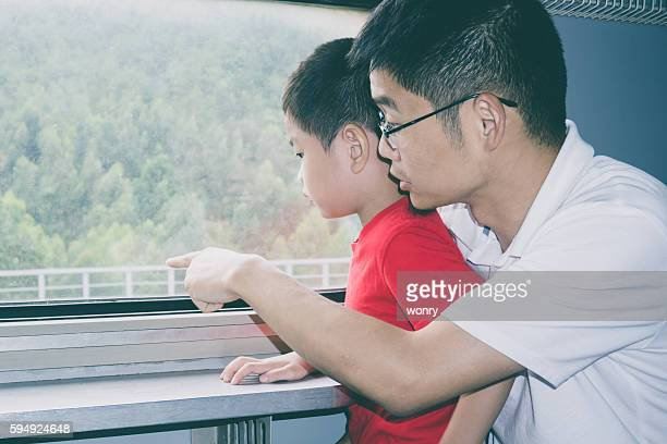 Father and son look outside in train