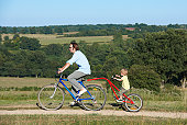 Father and son on bicycle in the fields