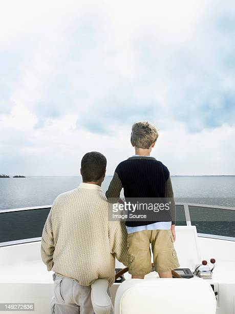 Father and son on boat