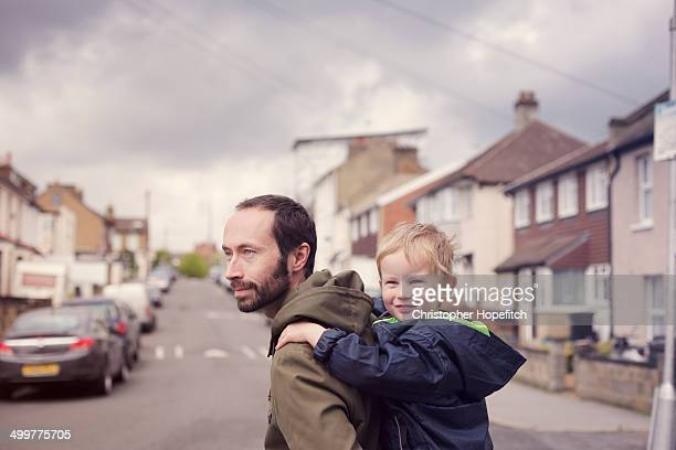 Father and son on school run
