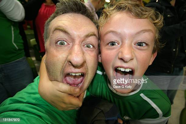 Father and son screaming