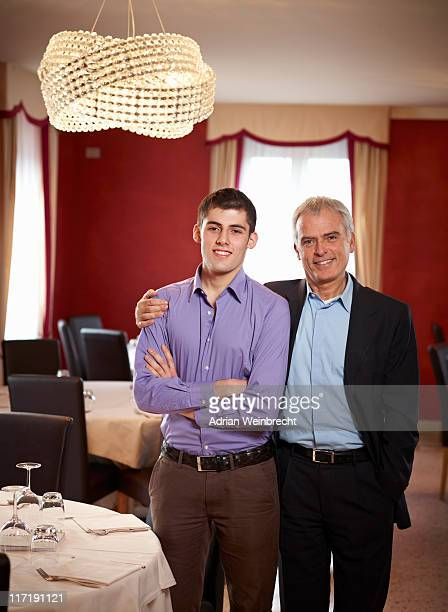 Father and Son share an intimate moment in Family restaurent